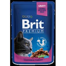 Brit Premium Курица и индейка в соусе для кошек