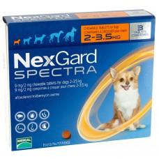 NexGard Spectra жевательная таблетка от блох, клещей и гельминтов для собак весом 2-3,5 кг