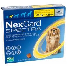 NexGard Spectra жевательная таблетка от блох, клещей и гельминтов для собак весом 3,5-7,5 кг