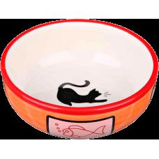 Trixie Миска керамическая с кошкой и рыбкой, 0,35 л/12,5 см